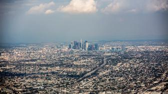 An aerial view of downtown Los Angeles, photographed while flying south over the 405 Freeway, Oct. 12, 2012.  (Photo by Jay L. Clendenin/Los Angeles Times via Getty Images)