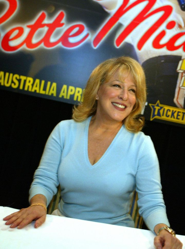 Bette Midler in 2005, as a rich honey-blonde with a hair style that reminds us of Mary Tyler Moore's flip.