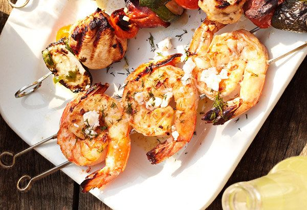 Although many Greek dishes come wrapped in a split-open pocket, you won't need any bread to enjoy this shrimp-feta combinatio