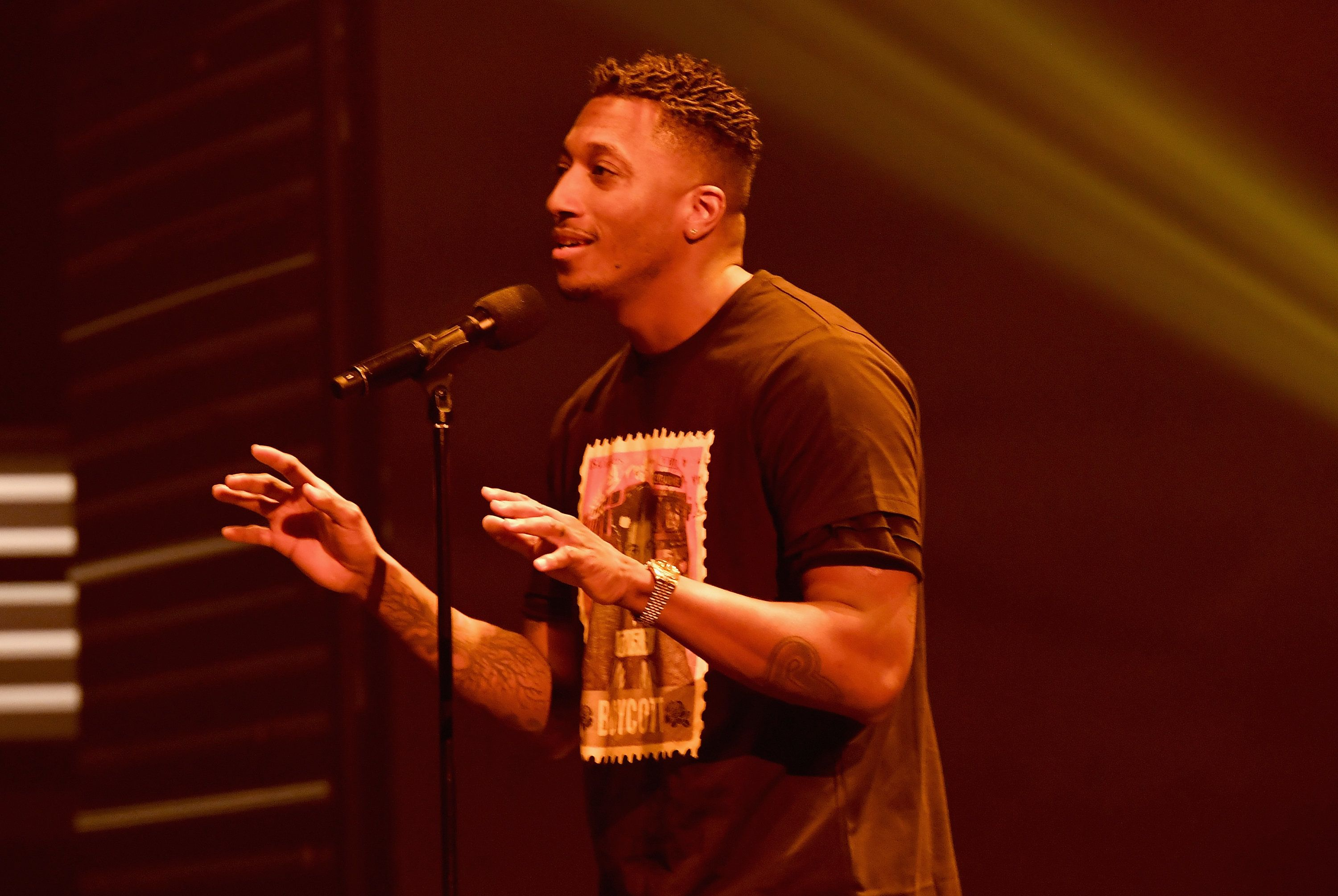 ATLANTA, GA - SEPTEMBER 17:  Lecrae performs onstage during the 2016 BET Hip Hop Awards at Cobb Energy Performing Arts Center on September 17, 2016 in Atlanta, Georgia.  (Photo by Paras Griffin/BET/Getty Images for BET)