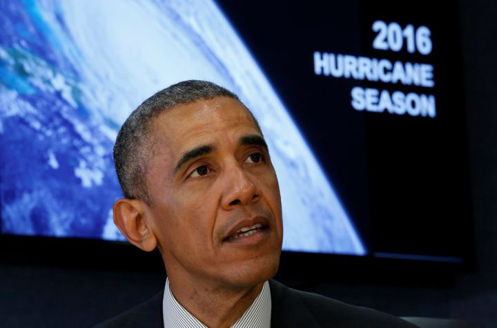 U.S. President Barack Obama speaks during a meeting at FEMA Headquarters, where he received the Hurricane Preparedness Briefi