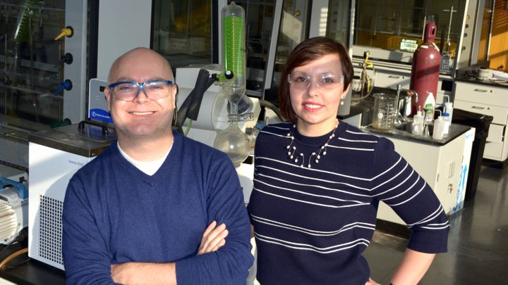 Physics researcher John Katsoudas and chemistry professor Elena Timofeeva of the Illinois Institute of Techno