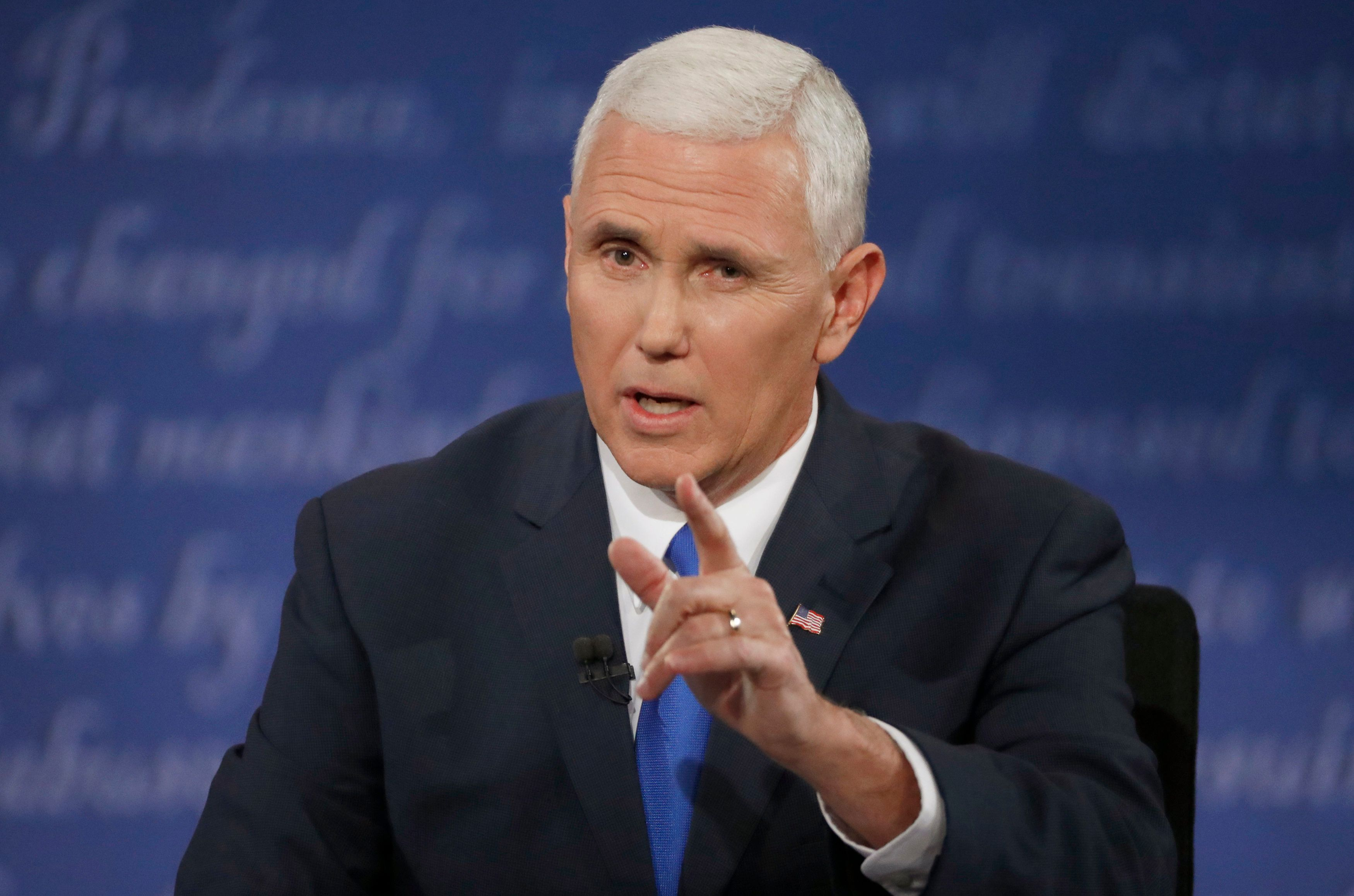Republican U.S. vice presidential nominee Governor Mike Pence speaks during his debate against Democratic U.S. vice presidential nominee Senator Tim Kaine (not shown) at Longwood University in Farmville, Virginia, U.S., October 4, 2016. REUTERS/Jonathan Ernst