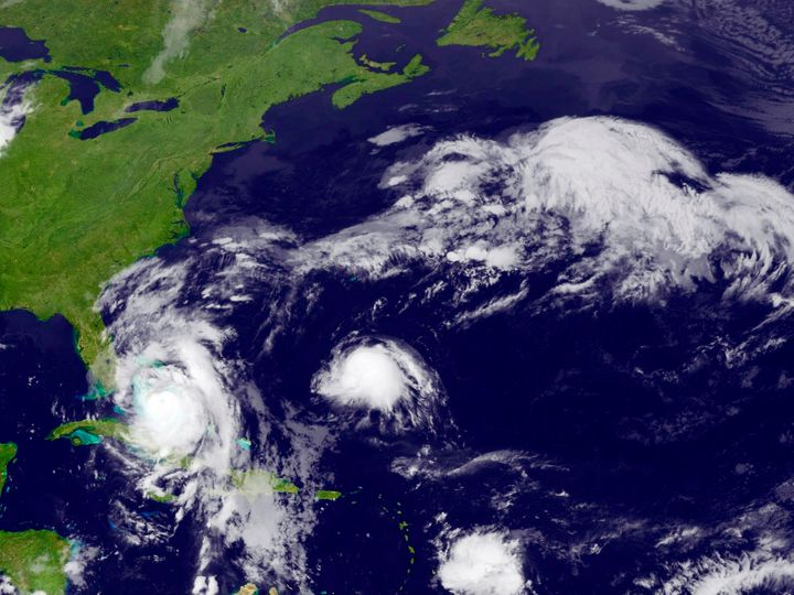 Hurricane Matthew is seen approaching the East Coast of the United States in this image from NOAA's GOES-East satellite taken