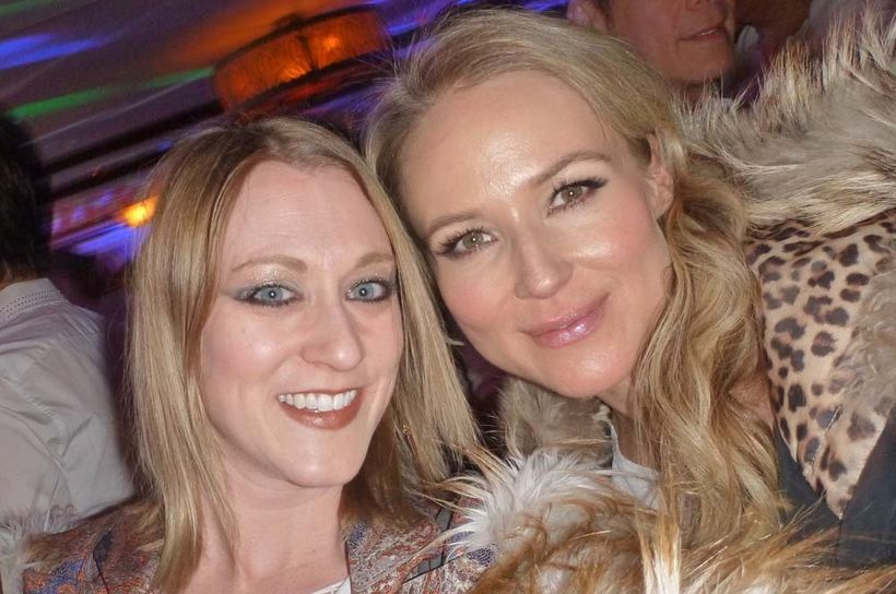Caitlin Stolley with singer Jewel at 2015 Telluride AIDS benefit in Colorado.