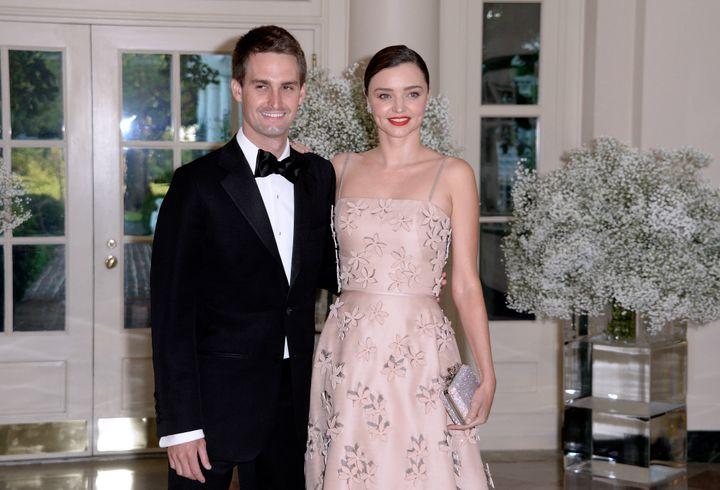 Snapchat CEO Evan Spiegel with his fiancée, Australian model Miranda Kerr.