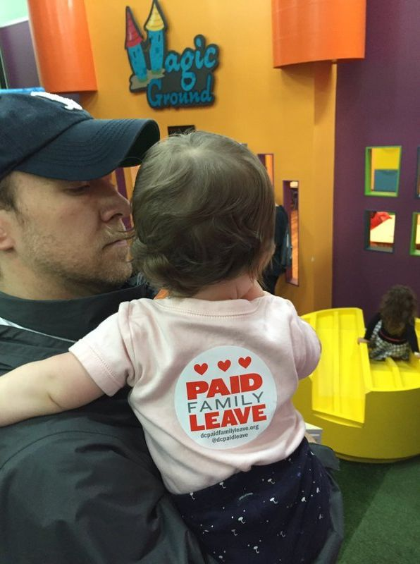 Author's husband and daughter at a Paid Leave Playdate, Washington D.C.