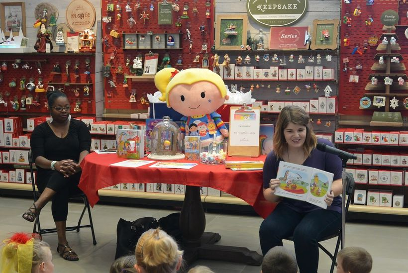 """Kara Goodier reading """"Rainbow Brite and the Very Brave Day"""" with author Melvina  Young"""
