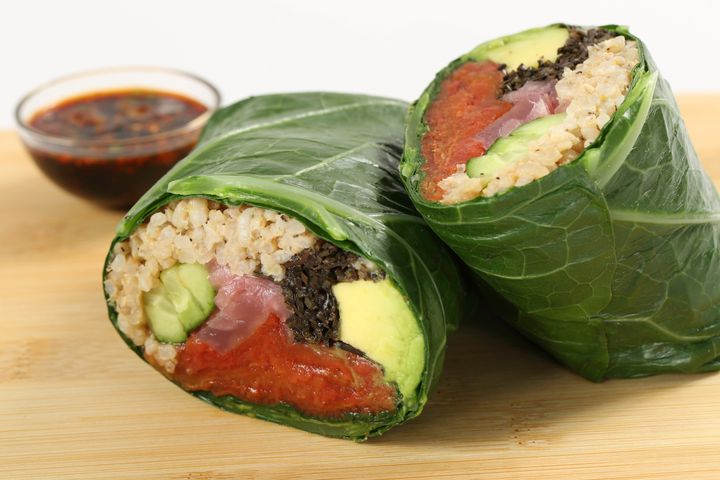 Fresh & Co's Tomato Sushi Wrap with hijiki, cucumber, avocado, rice, cilantro and wasabi