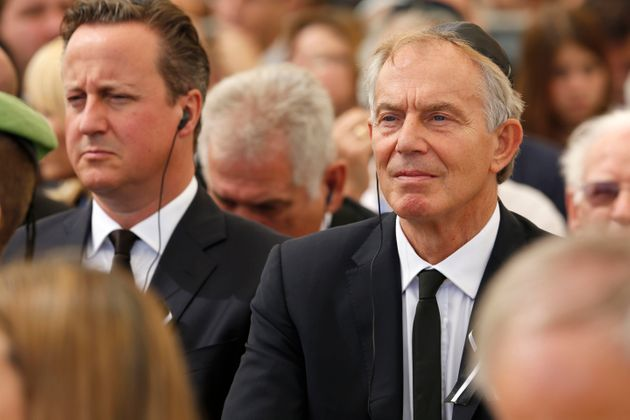 David Cameron and Tony Blair at the funeral of former Israeli PM Shimon