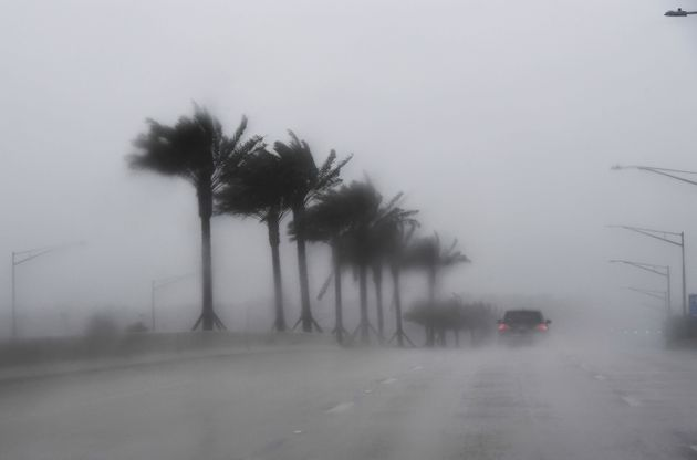 Hurricane Matthew battered Florida overnight with heavy rains and