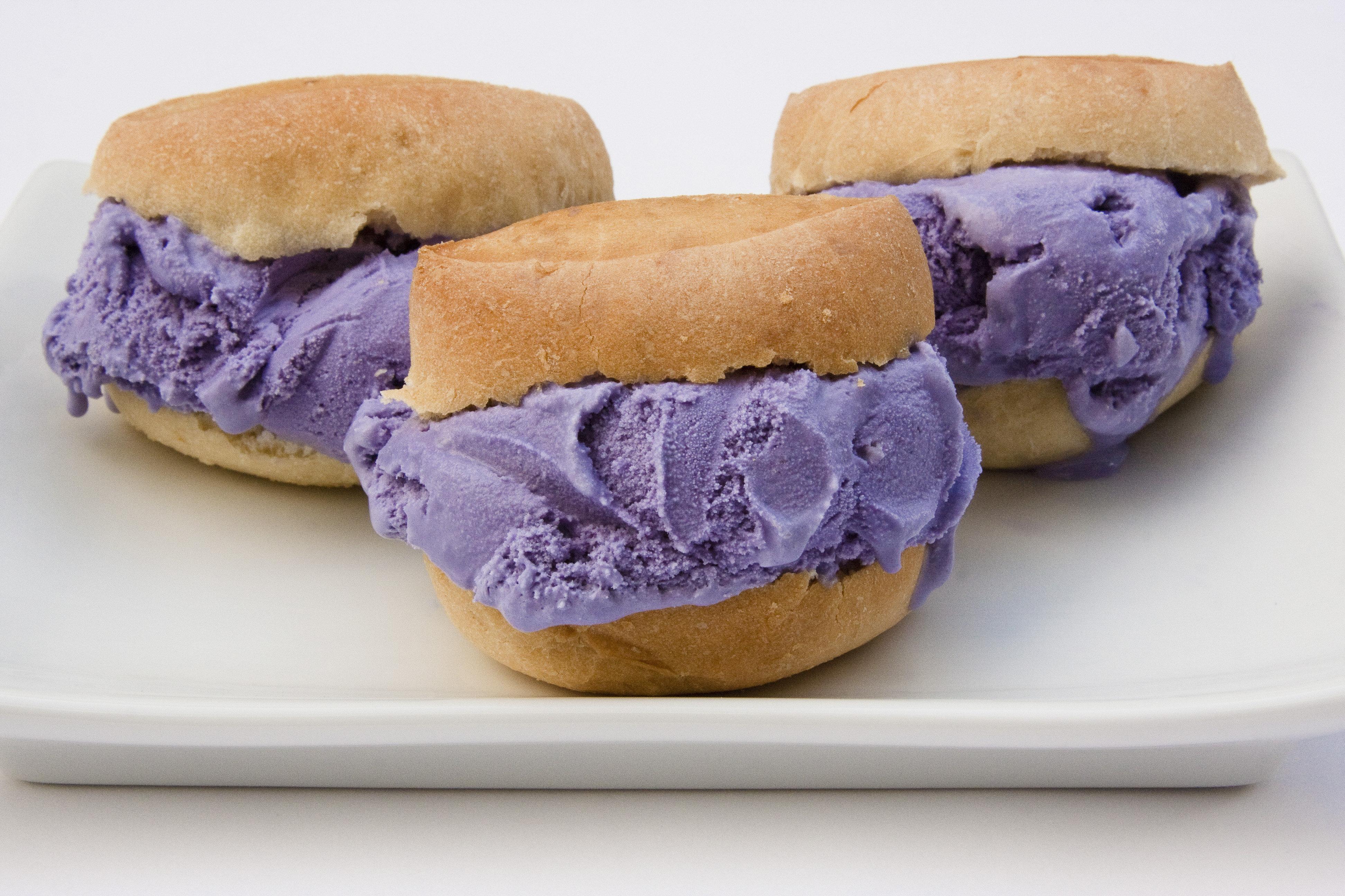 Ube ice cream or purple yam ice cream sandwiched in salt pan.