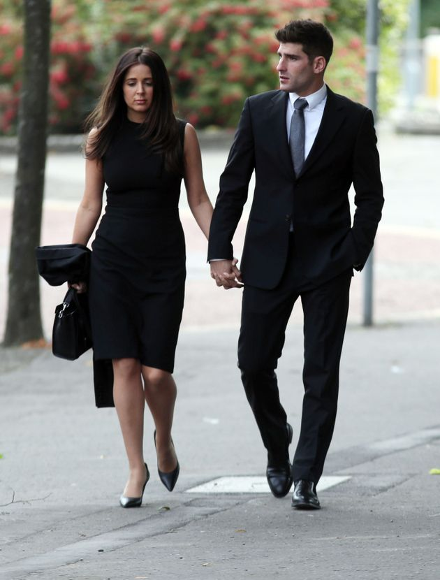 Footballer Ched Evans with partner Natasha Massey at Cardiff Crown