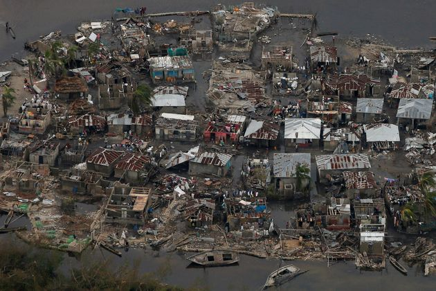 Destroyed houses are seen in a village after Hurricane Matthew passes Corail, Haiti, October 6,