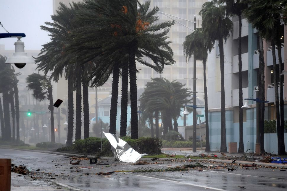 Debris flies through the air as the eye of Hurricane Matthew nears Daytona Beach, Florida, on Friday.