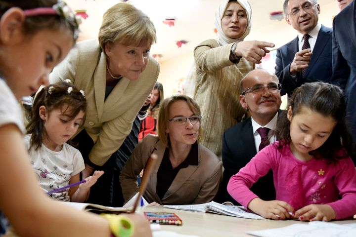 Merkel visits a classroom in Gaziantep, Turkey on April 23.