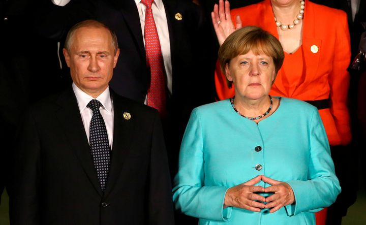 Russian President Vladimir Putin and German Chancellor Angela Merkel at the G20 Summit in Hangzhou, China on Sept. 4.