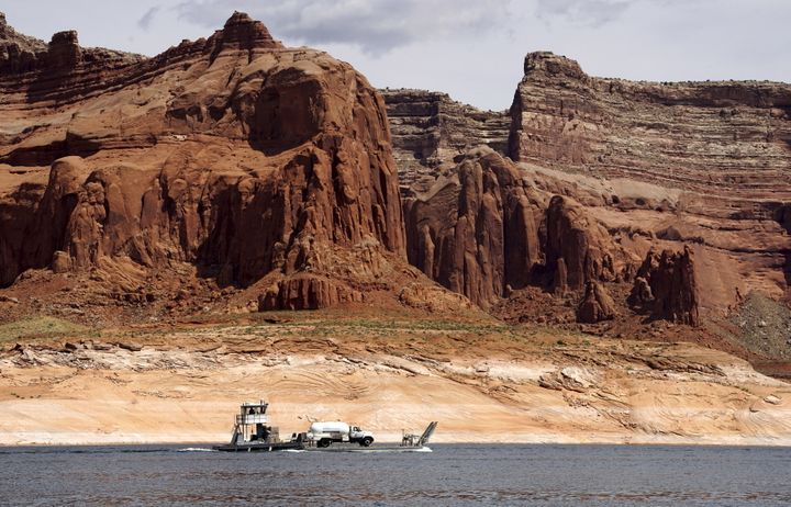Lake Powell on the Colorado River provides water for Nevada, Arizona and California. The severe drought has depleted its leve