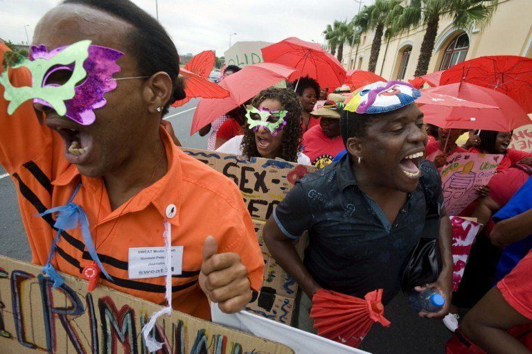 Sex workers march through Cape Town South Africa in March 2011 Advocacy groups are calling for the government to decriminalize prostitution saying it would protect sex workers against exploitation and violence