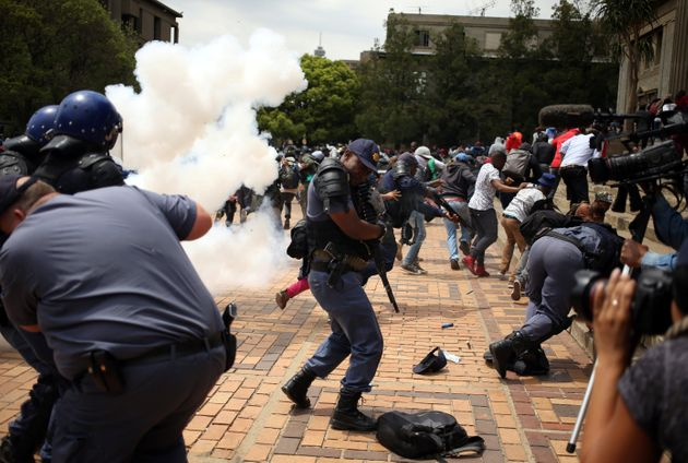 Students clash with South African police at Johannesburg's University of the Witwatersrand, South