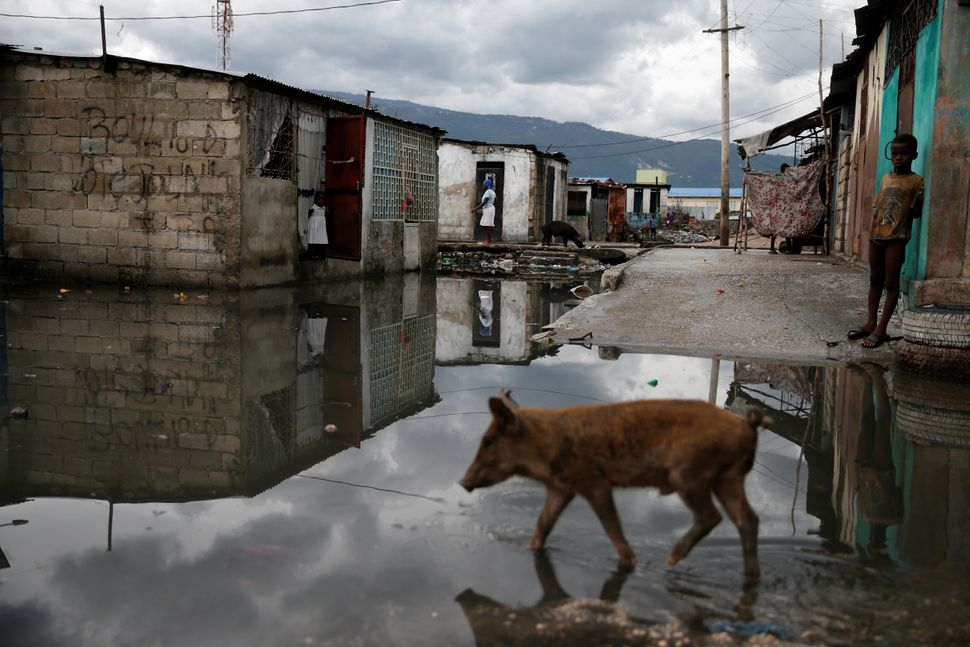 A boy stands near a flooded street after Hurricane Matthew passes Cite-Soleil in Port-au-Prince, Haiti, October 5, 2016.