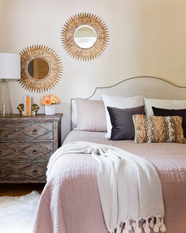 """Lauren included lots of neutrals in her home's color palette. """"I like pairing more modern pieces with rustic, second-hand fin"""