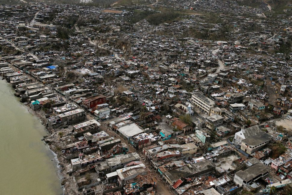 Destroyed houses are seen after Hurricane Matthew hit Jeremie, Haiti, October 6, 2016.