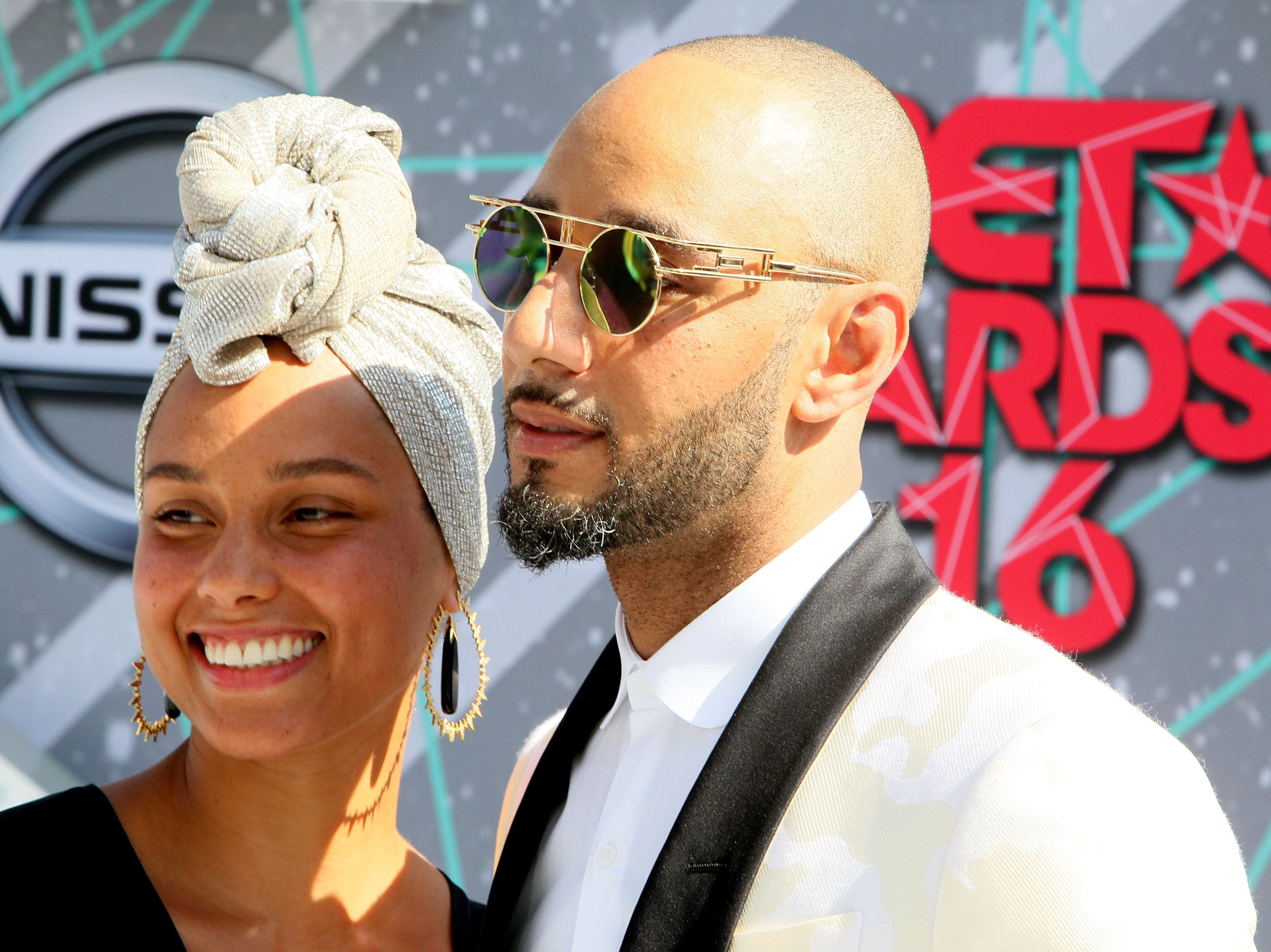 LOS ANGELES, CA - JUNE 26:  Singer Alicia Keys (L) and Swizz Beatz attend the 2016 BET Awards at Microsoft Theater on June 26, 2016 in Los Angeles, California.  (Photo by David Livingston/Getty Images)