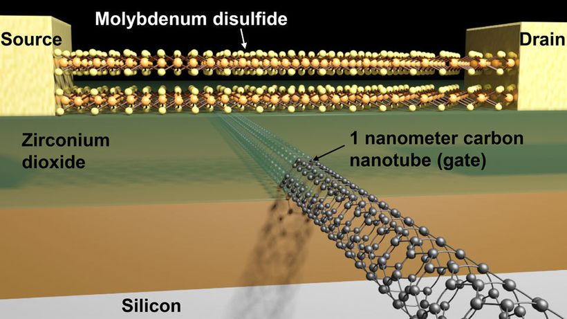 Schematic of a transistor with a molybdenum disulfide channel and 1 nanometer carbon nanotube gate