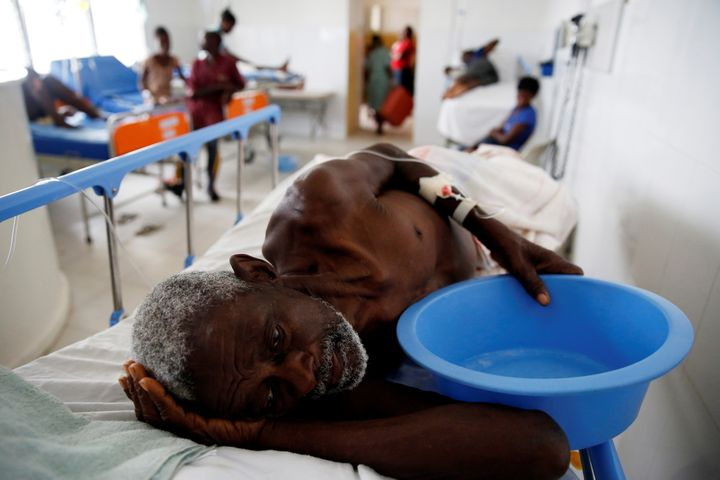 An injured man recovers at the hospital after Hurricane Matthew passed Jeremie, Haiti, on Oct.6, 2016.