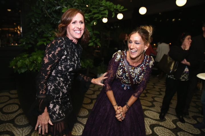 """Molly Shannon and co-star Sarah Jessica Parker at the """"Divorce"""" New York premiere."""