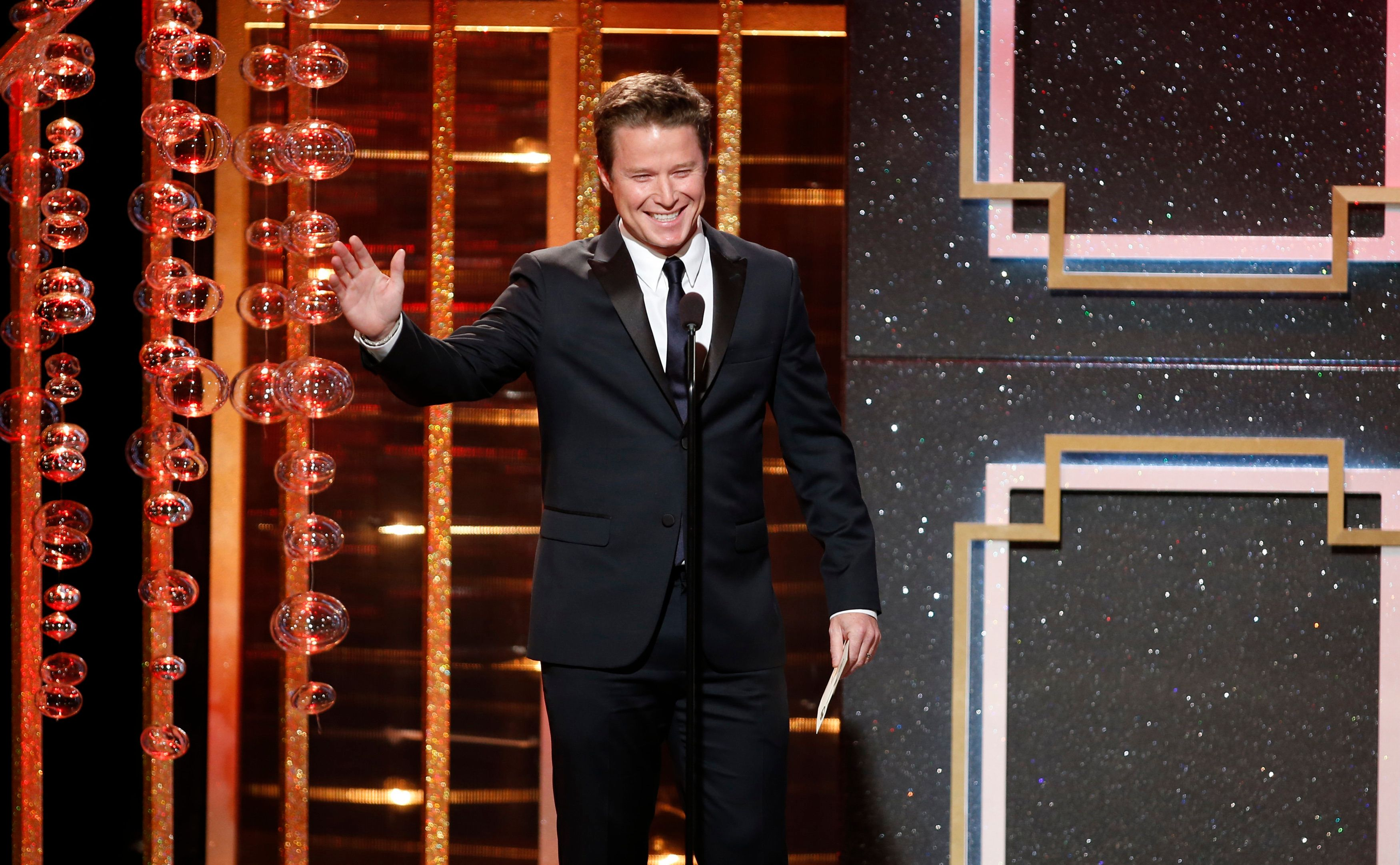 Billy Bush presents the award for outstanding supporting actor in a drama series during the 41st Annual Daytime Emmy Awards in Beverly Hills, California June 22, 2014.   REUTERS/Danny Moloshok (UNITED STATES  - Tags: ENTERTAINMENT)  (DAYTIMEEMMYAWARDS-SHOW)