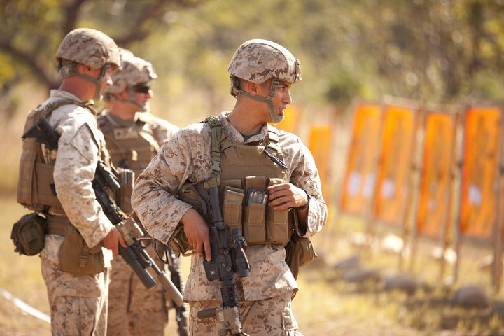 American soldiers participate in combat marksmanship training at the Australian Defence Force's training area south of Darwin