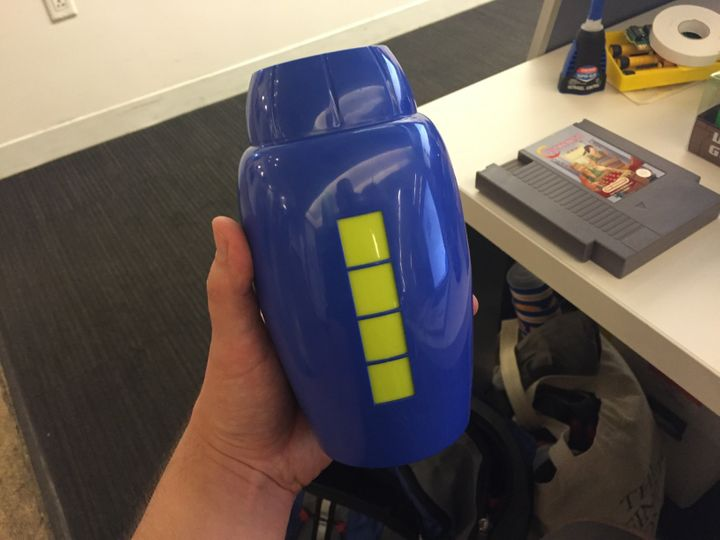 Mega Man mega buster double pint glass.