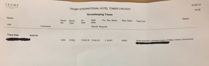 Jon Lorenzini took a photo of his housekeeping request receipt, showing he made the request in advance.