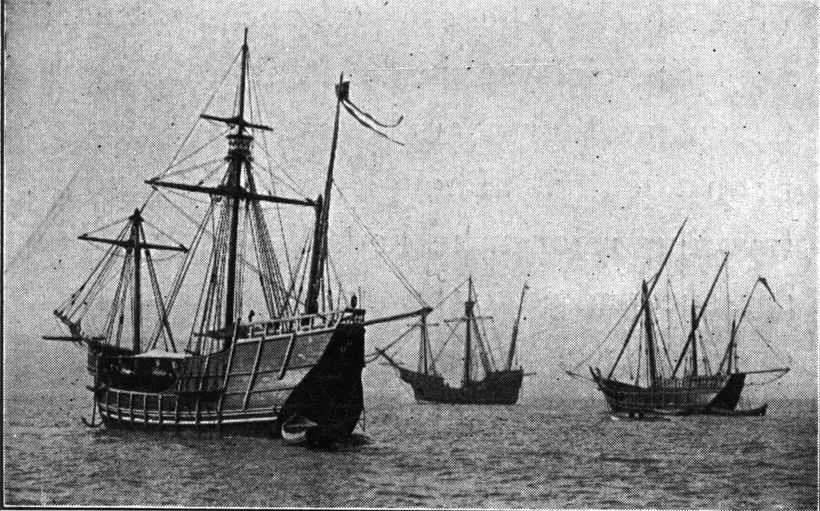 Replicas of Niña, Pinta and Santa Maria sail from Spain to the Chicago Columbian Exposition in 1892