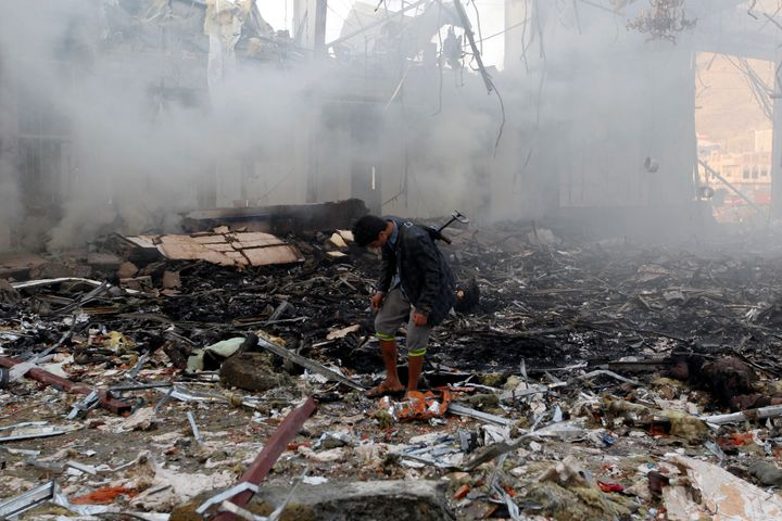 The rubble of a building destroyed in the attack targeting a funeral hall.