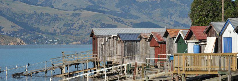 Akaroa's famous boatsheds