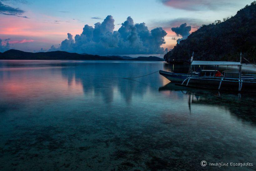 Calm sea at dusk
