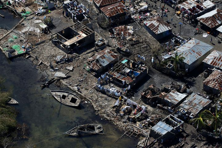 Destroyed houses are seen after Hurricane Matthew passes in Corail, Haiti, October 8, 2016.