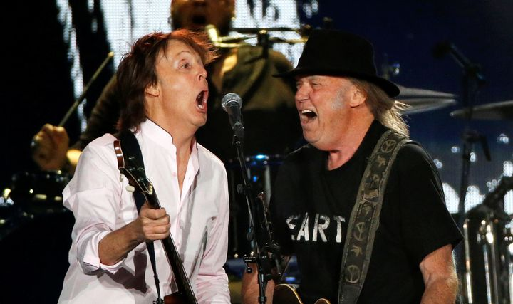 Paul McCartney and Neil Young took the stage at Desert Trip music festival in Indio, California, Oct. 8, 2016.