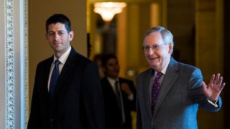 UNITED STATES - NOVEMBER 3: Speaker of the House Paul Ryan, R-Wis., left, and Senate Majority Leader Mitch McConnell, R-Ky., walk to the Senate Republicans' policy lunch in the Capitol on Tuesday, Nov. 3, 2015. (Photo By Bill Clark/CQ Roll Call)