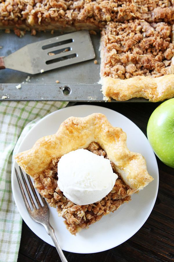 "<strong>Get the <a href=""http://www.twopeasandtheirpod.com/apple-slab-pie-with-crumb-topping/"" target=""_blank"">Apple Slab Pie"