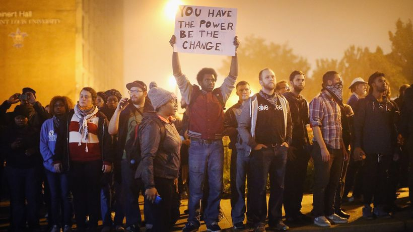 Young protesters gather in Ferguson, MO.