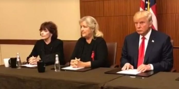 Kathleen Willey (left) and Juanita Broaddrick (middle) appeared in an Oct. 9, 2016 news conference with Republican presidenti