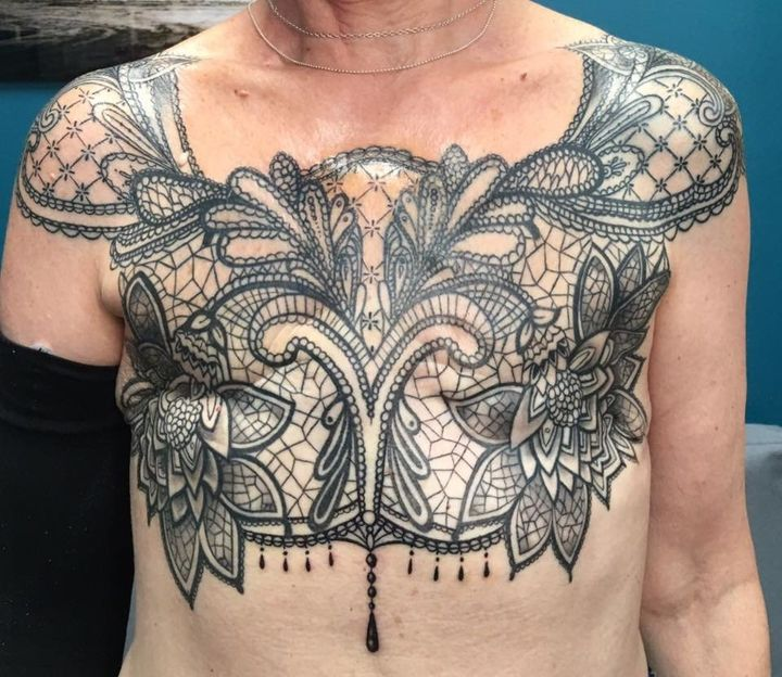 Sue Cook after having a mastectomy tattoo.