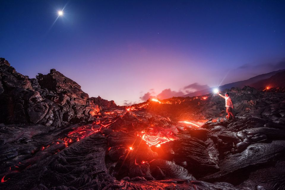 Photographer Captures Lava, Moon, Meteor And Milky Way In One