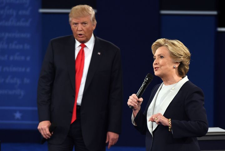 US Democratic presidential candidate Hillary Clinton and US Republican presidential candidate Donald Trump debate during the