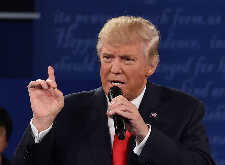 Donald Trump speaks during the second presidential debate at Washington University in St. Louis, Missouri, on Oct. 9, 2016.