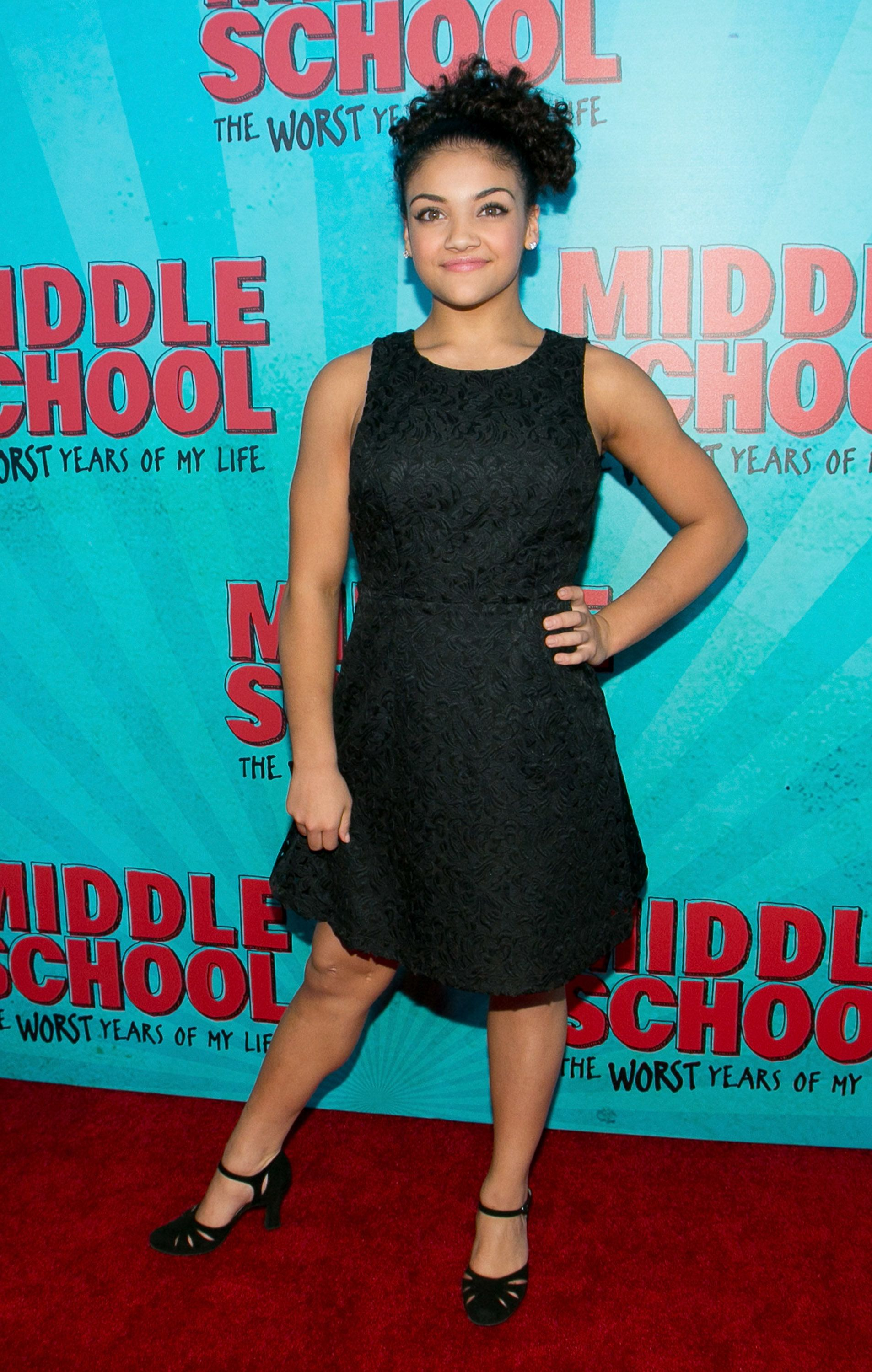 HOLLYWOOD, CA - OCTOBER 05:  Laurie Hernandez arrives for the premiere of CBS Films' 'Middle School: The Worst Years Of My Life' - Arrivals at TCL Chinese 6 Theatres on October 5, 2016 in Hollywood, California.  (Photo by Gabriel Olsen/FilmMagic)